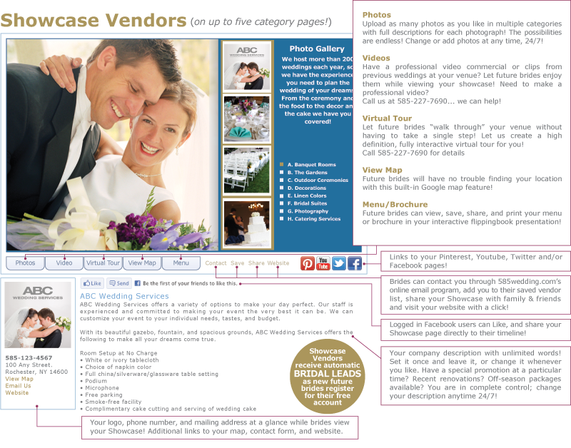 Three web levels to partner with 585wedding.com | 585-227-7690