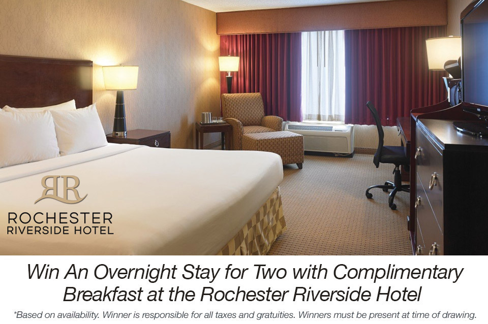 Win An Overnight Stay for Two with Complimentary Breakfast at the Rochester Riverside Hotel