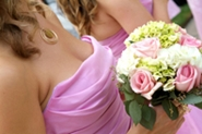 bridesmaids holding beautiful wedding bouquet