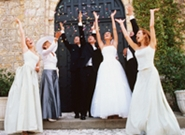 wedding party celebration at church entrance