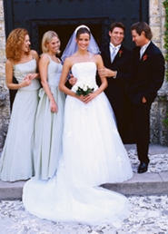 bridal party in front of church