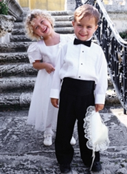 junior bridesmaid with ring bearer
