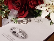 wedding invitation, roses and wedding rings