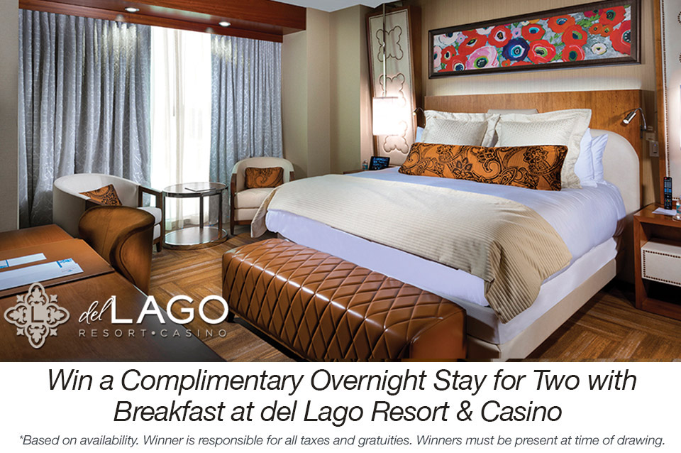 Win a Complimentary Overnight Stay for Two with Breakfast at del Lago Resort & Casino