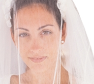 wedding veil on young bride
